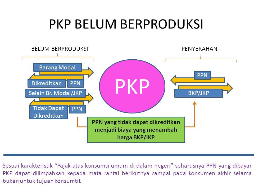 PKP BELUM BERPRODUKSI PKP Barang Modal PPNDikreditkan Selain Br. Modal/JKP PPN Tidak Dapat Dikreditkan BELUM BERPRODUKSI BKP/JKP PPN PENYERAHAN PPN ya