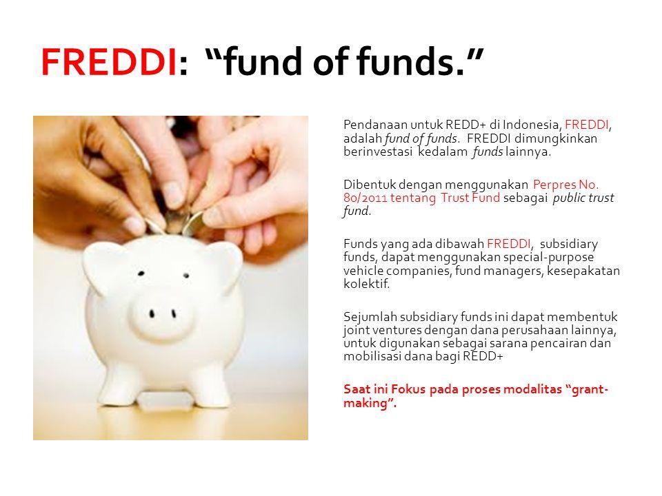 """FREDDI: """"fund of funds."""" Pendanaan untuk REDD+ di Indonesia, FREDDI, adalah fund of funds. FREDDI dimungkinkan berinvestasi kedalam funds lainnya. Dib"""