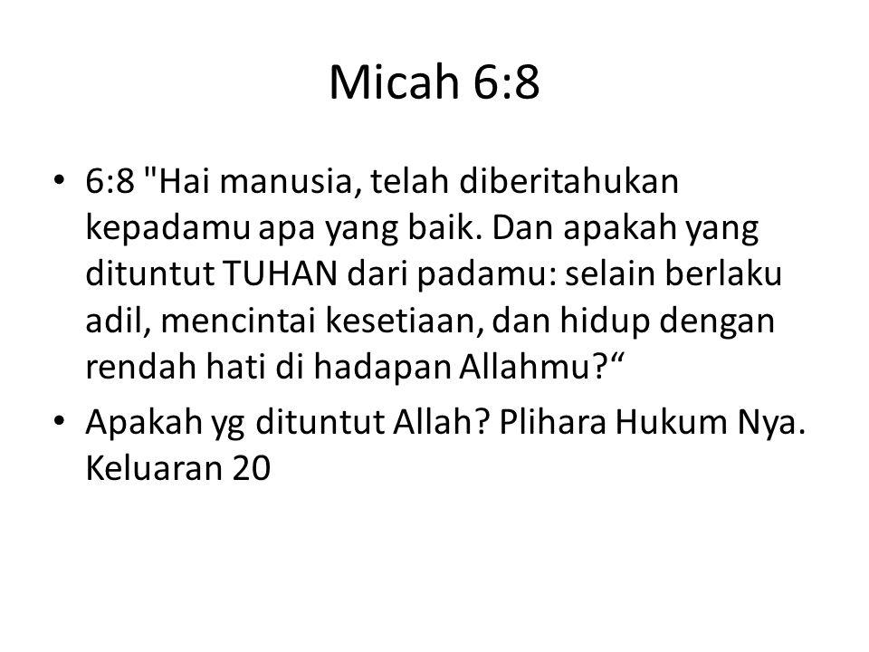 Micah 6:8 6:8 Hai manusia, telah diberitahukan kepadamu apa yang baik.
