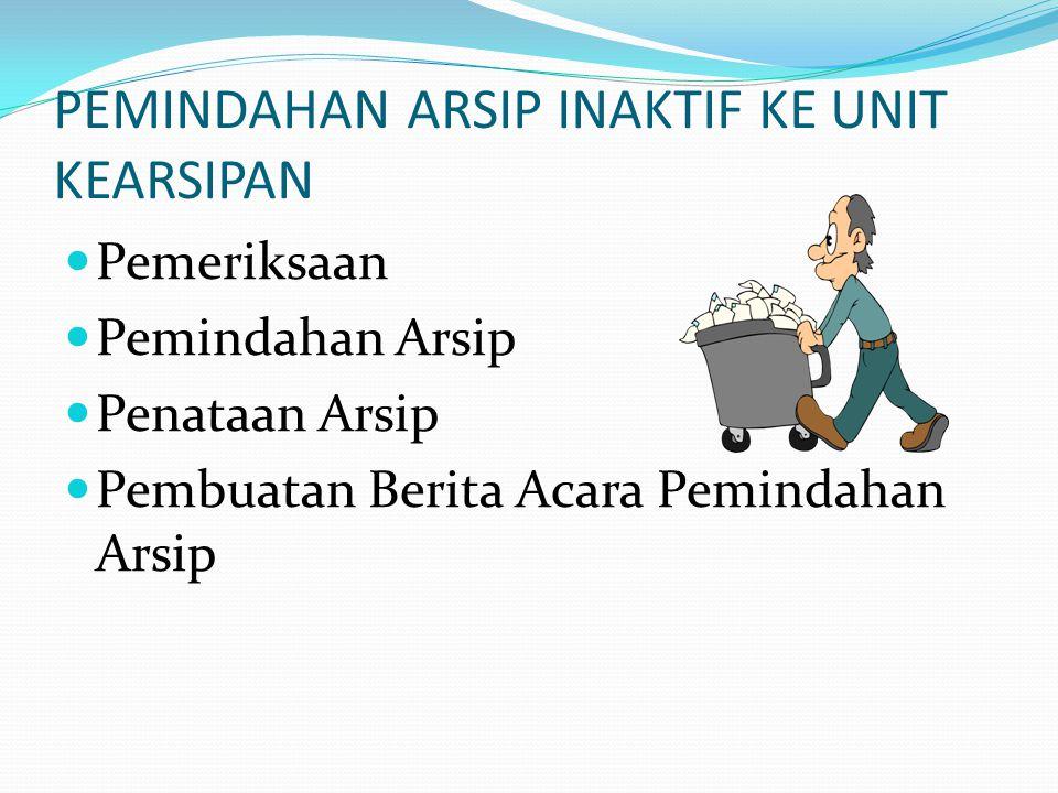 PEMINDAHAN ARSIP INAKTIF KE UNIT KEARSIPAN Pemeriksaan Pemindahan Arsip Penataan Arsip Pembuatan Berita Acara Pemindahan Arsip