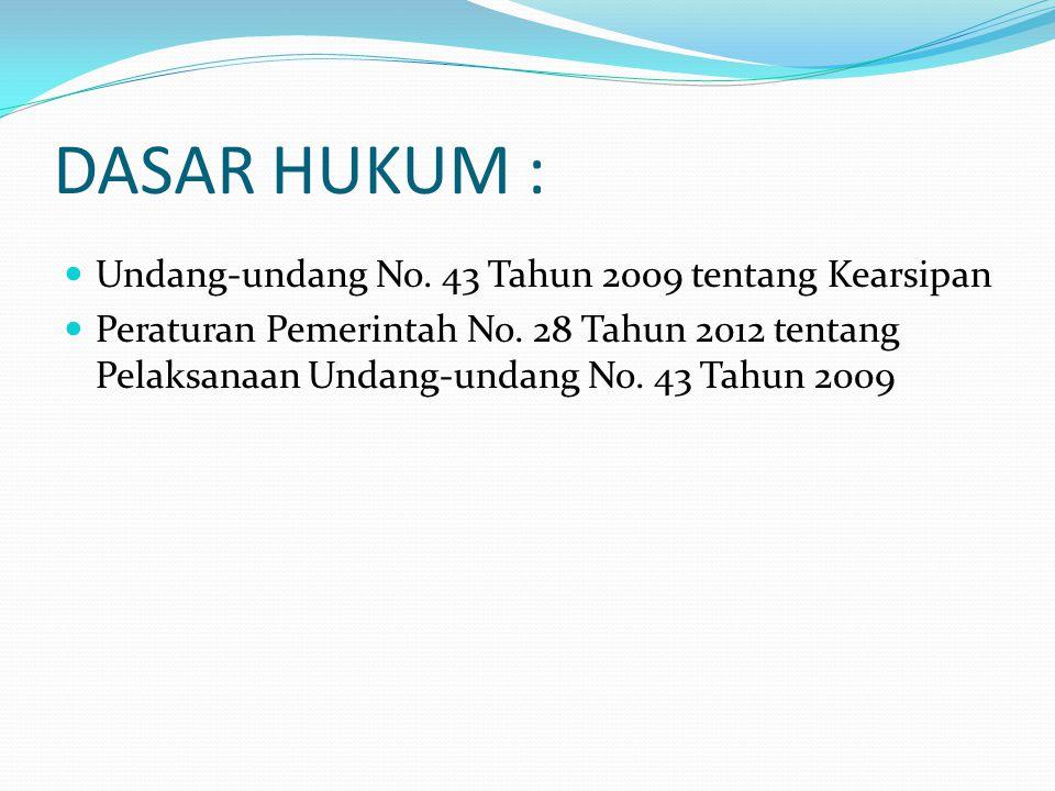 DASAR HUKUM : Undang-undang No. 43 Tahun 2009 tentang Kearsipan Peraturan Pemerintah No. 28 Tahun 2012 tentang Pelaksanaan Undang-undang No. 43 Tahun