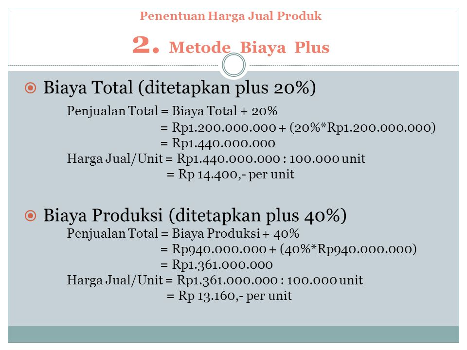Penentuan Harga Jual Produk 2.
