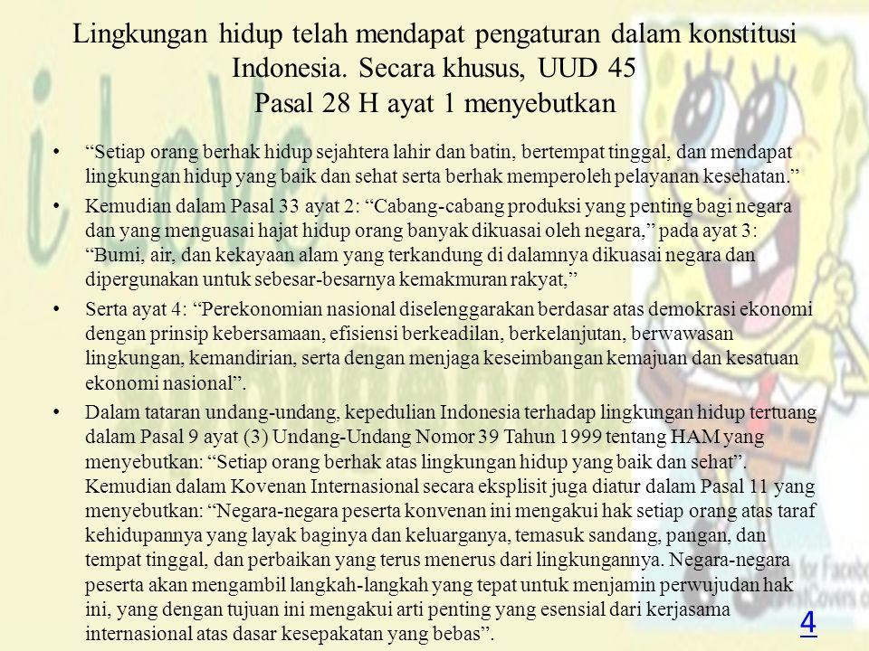 """Lingkungan hidup telah mendapat pengaturan dalam konstitusi Indonesia. Secara khusus, UUD 45 Pasal 28 H ayat 1 menyebutkan """"Setiap orang berhak hidup"""