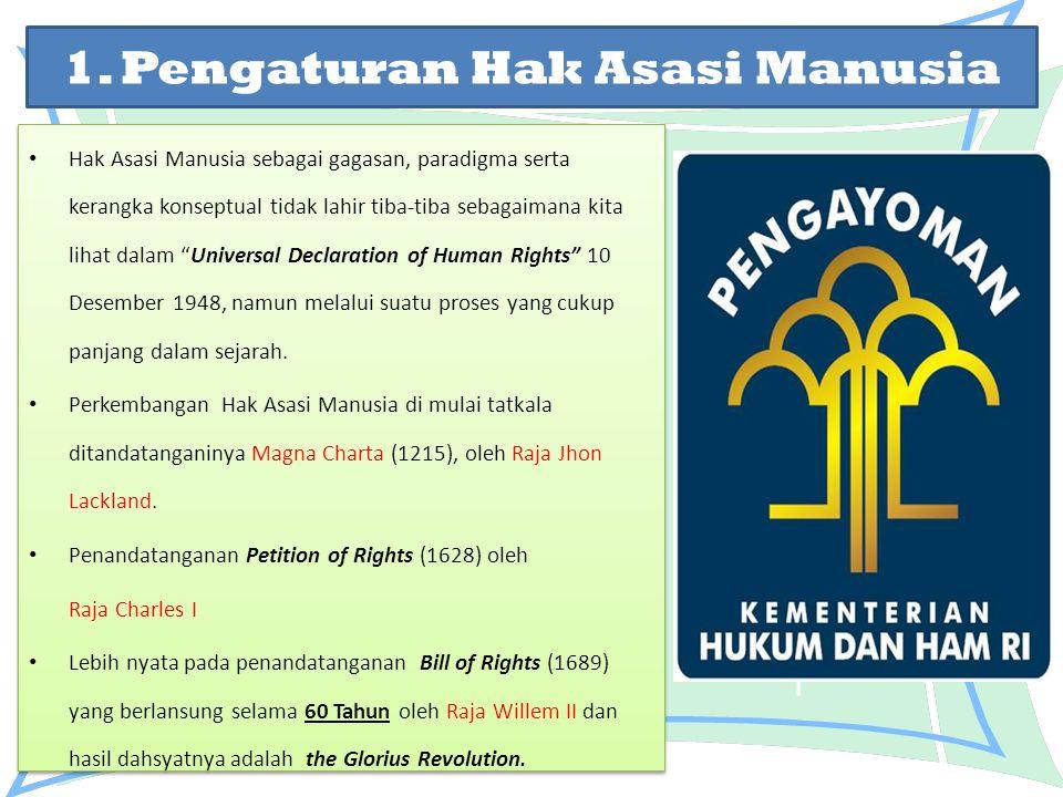 1. Pengaturan Hak Asasi Manusia Hak Asasi Manusia sebagai gagasan, paradigma serta kerangka konseptual tidak lahir tiba-tiba sebagaimana kita lihat da