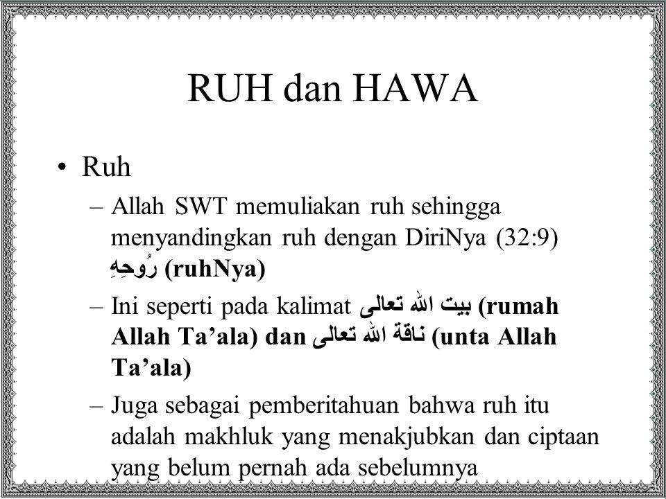 RUH dan HAWA Ruh –Allah SWT memuliakan ruh sehingga menyandingkan ruh dengan DiriNya (32:9) رُوحِهِ (ruhNya) –Ini seperti pada kalimat بيت الله تعالى