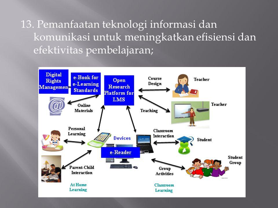 13. Pemanfaatan teknologi informasi dan komunikasi untuk meningkatkan efisiensi dan efektivitas pembelajaran;