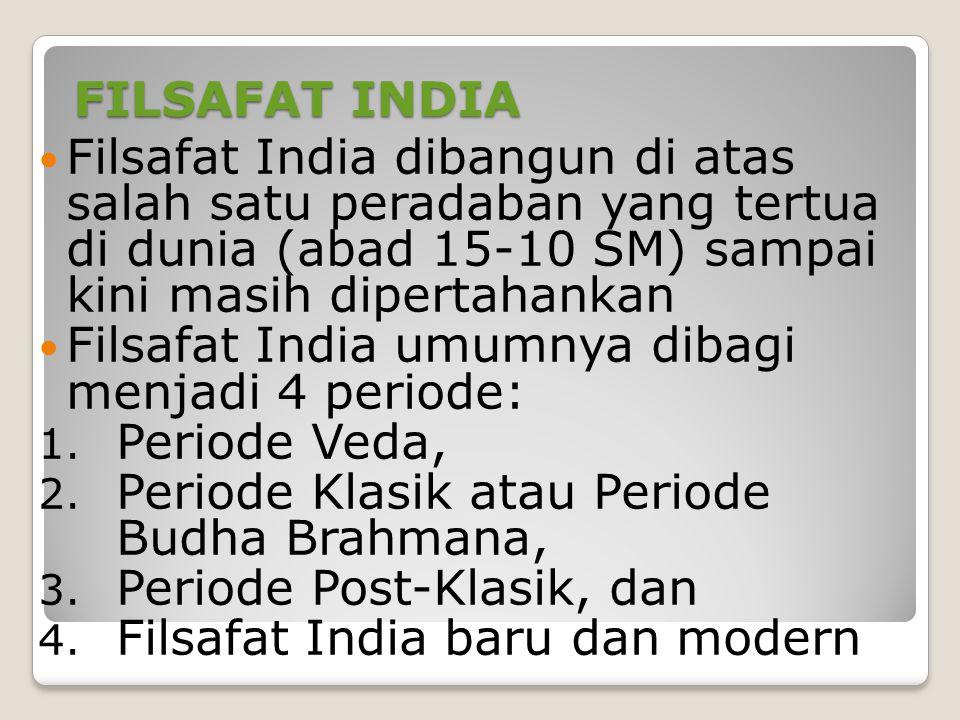 FILSAFAT INDIA Filsafat India dibangun di atas salah satu peradaban yang tertua di dunia (abad 15-10 SM) sampai kini masih dipertahankan Filsafat India umumnya dibagi menjadi 4 periode: 1.