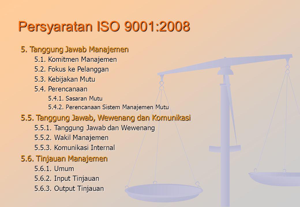 Persyaratan ISO 9001:2008 1. Ruang Lingkup 1.1.Umum1.2.Aplikasi 2. Acuan Normatif 3. Difinisi dan syarat 4. Sistem Manajemen Mutu 4.1. Persyaratan Umu
