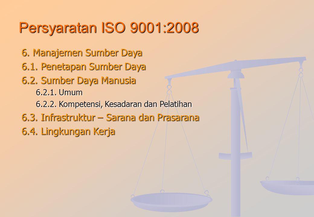 Persyaratan ISO 9001:2008 5. Tanggung Jawab Manajemen 5.1. Komitmen Manajemen 5.2. Fokus ke Pelanggan 5.3. Kebijakan Mutu 5.4. Perencanaan 5.4.1. Sasa