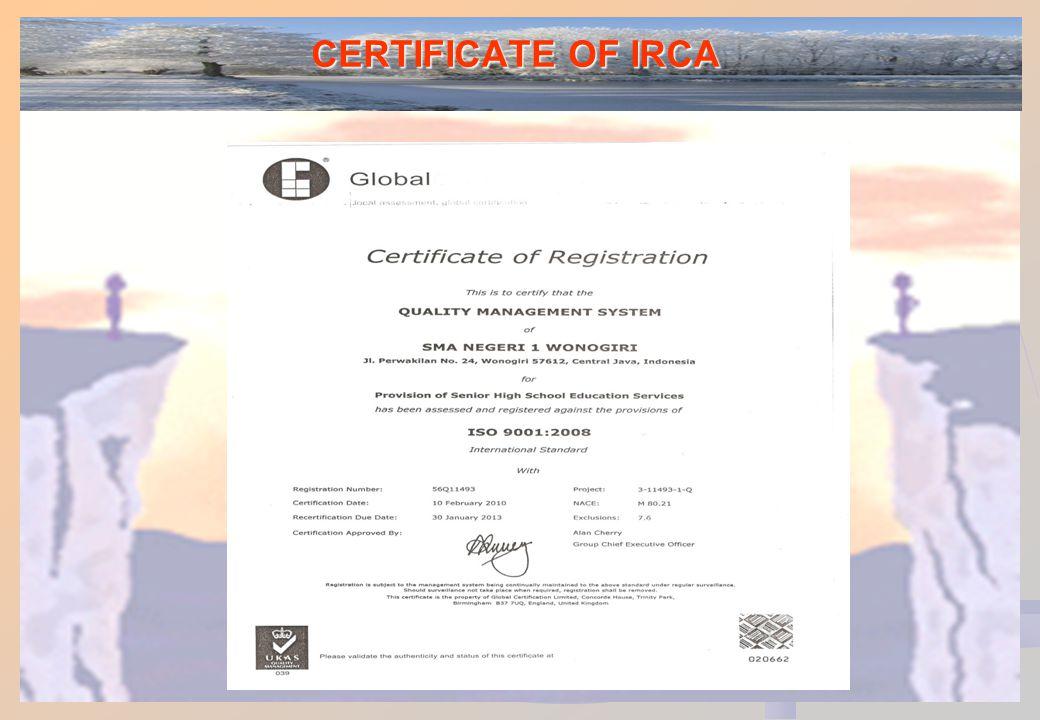 CERTIFICATE OF IRCA