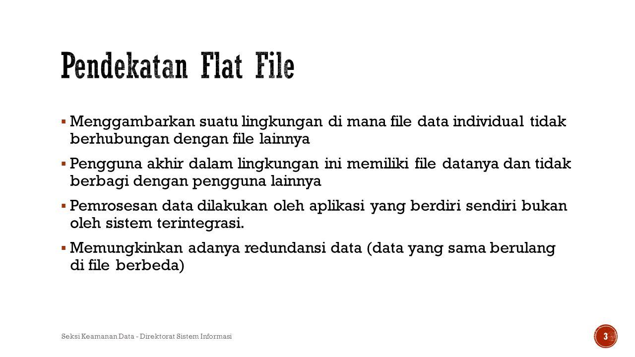  Menggambarkan suatu lingkungan di mana file data individual tidak berhubungan dengan file lainnya  Pengguna akhir dalam lingkungan ini memiliki fil