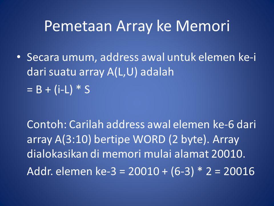 Pemetaan Array ke Memori Secara umum, address awal untuk elemen ke-i dari suatu array A(L,U) adalah = B + (i-L) * S Contoh: Carilah address awal eleme