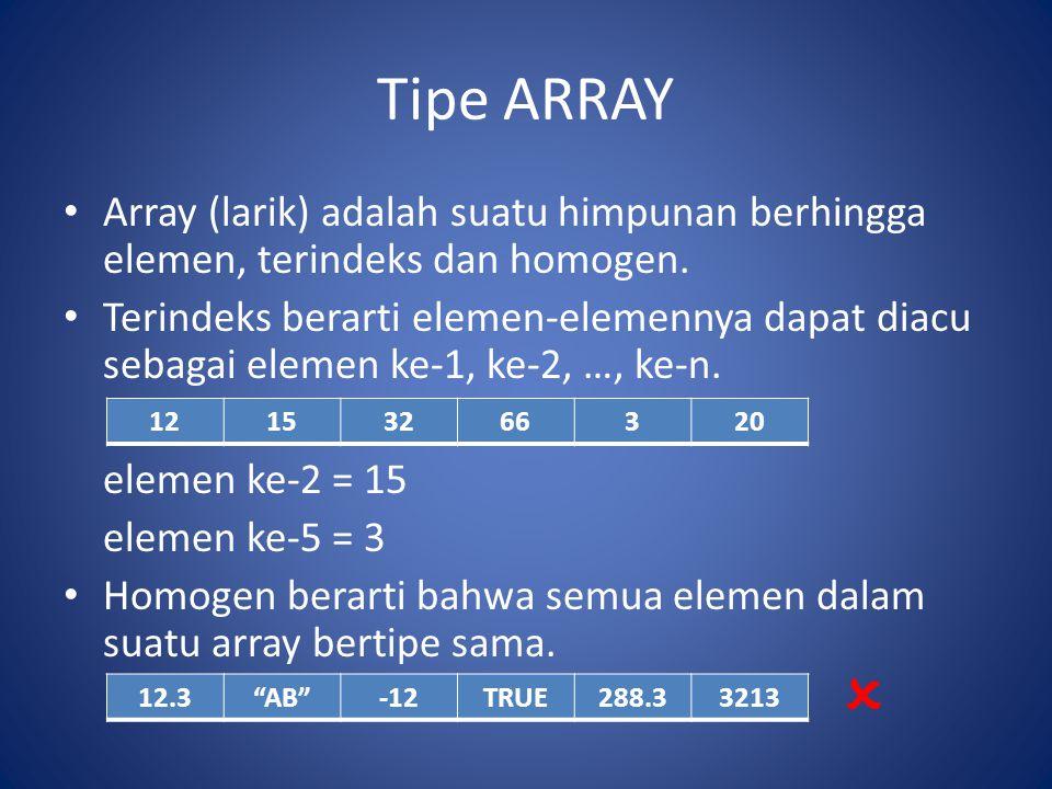 Tipe ARRAY Subskrip atau indeks dari elemen array menyatakan posisi elemen pada urutan dalam array tersebut Ada 3 hal yang harus dikemukakan dalam mendeklarasikan suatu array, yaitu : 1.nama Array 2.Range dari subskrip 3.Tipe Data dari elemen array