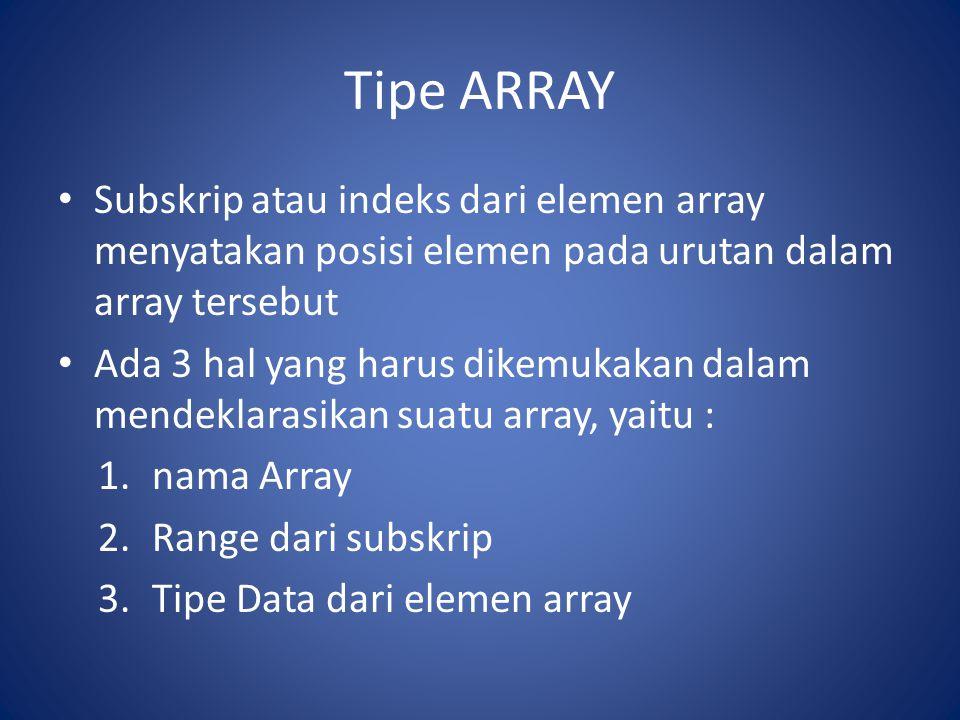 Tipe ARRAY Penulisan notasi array Suatu array dimensi satu A dengan tipe data T dan subskrip bergerak dari L sampai dengan U, ditulis sebagai A(L:U) = (A(i)), i=L, L+1, L+2,…, U dengan setiap elemen A(i) bertipe data T.