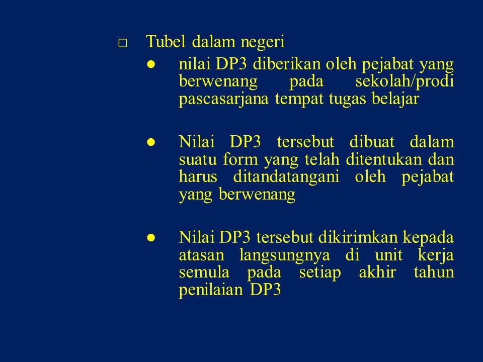 □Tubel dalam negeri ●nilai DP3 diberikan oleh pejabat yang berwenang pada sekolah/prodi pascasarjana tempat tugas belajar ●Nilai DP3 tersebut dibuat dalam suatu form yang telah ditentukan dan harus ditandatangani oleh pejabat yang berwenang ●Nilai DP3 tersebut dikirimkan kepada atasan langsungnya di unit kerja semula pada setiap akhir tahun penilaian DP3