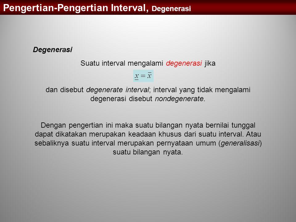 Pengertian-Pengertian Interval, Degenerasi Degenerasi Suatu interval mengalami degenerasi jika dan disebut degenerate interval; interval yang tidak me