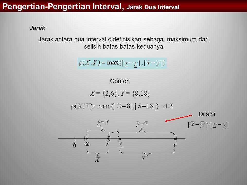 Jarak Jarak antara dua interval didefinisikan sebagai maksimum dari selisih batas-batas keduanya Pengertian-Pengertian Interval, Jarak Dua Interval Co
