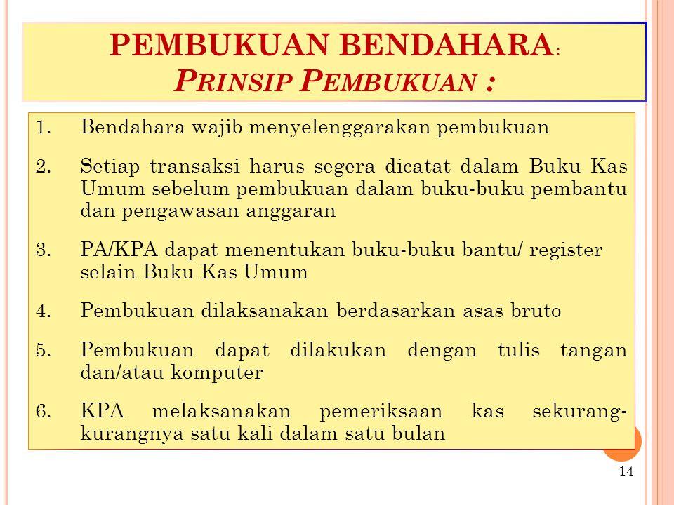 PEMBUKUAN BENDAHARA : P RINSIP P EMBUKUAN : 1.Bendahara wajib menyelenggarakan pembukuan 2.
