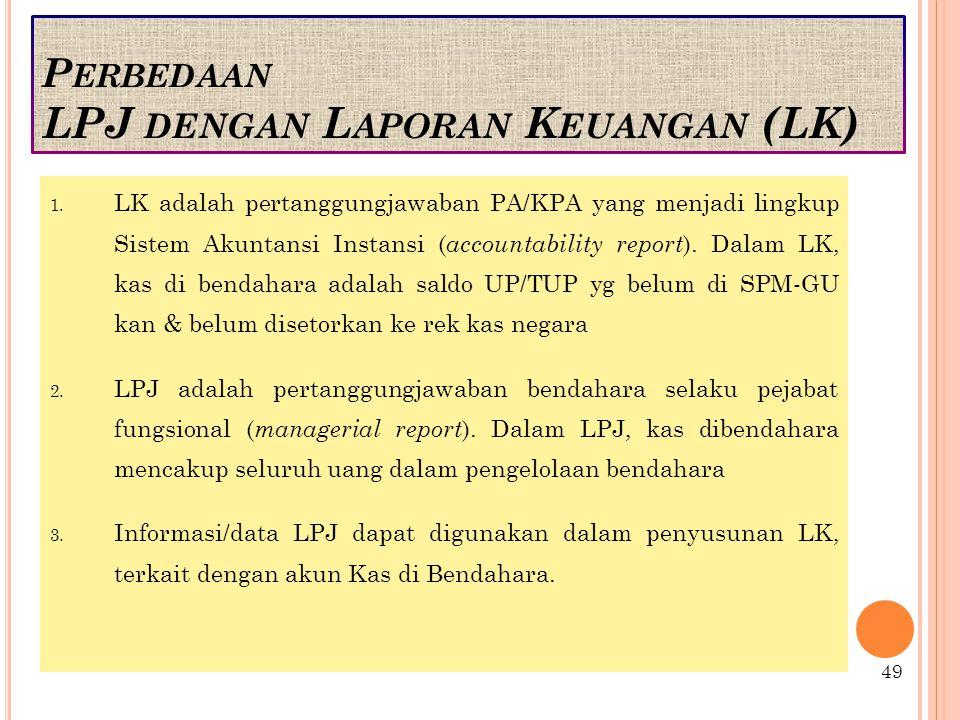 P ERBEDAAN LPJ DENGAN L APORAN K EUANGAN (LK) 1.