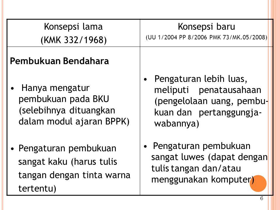Konsepsi lama (KMK 332/1968) Konsepsi baru (UU 1/2004 PP 8/2006 PMK 73/MK.05/2008) Pembukuan Bendahara Hanya mengatur pembukuan pada BKU (selebihnya dituangkan dalam modul ajaran BPPK) Pengaturan pembukuan sangat kaku (harus tulis tangan dengan tinta warna tertentu) Pengaturan lebih luas, meliputi penatausahaan (pengelolaan uang, pembu- kuan dan pertanggungja- wabannya) Pengaturan pembukuan sangat luwes (dapat dengan tulistangan dan/atau menggunakan komputer) 6