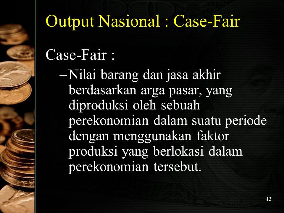 13 Output Nasional : Case-Fair Case-Fair : –N–Nilai barang dan jasa akhir berdasarkan arga pasar, yang diproduksi oleh sebuah perekonomian dalam suatu
