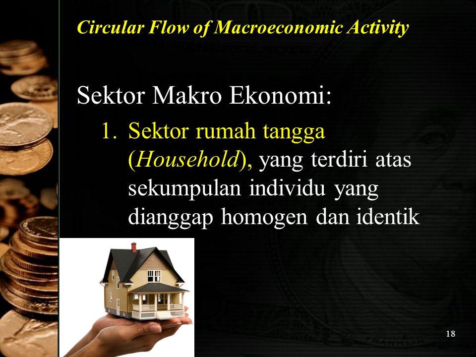 18 Circular Flow of Macroeconomic Activity Sektor Makro Ekonomi: 1.Sektor rumah tangga (Household), yang terdiri atas sekumpulan individu yang diangga