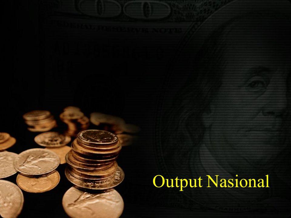 43 Metode Penghitungan Pendapatan Nasional : Metode Output atau Metode Produksi  Produk Domestik Bruto (Gross Domestic Product) adalah total output (produksi) yang dihasilkan oleh suatu perekonomian.