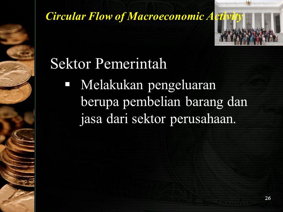 26 Circular Flow of Macroeconomic Activity Sektor Pemerintah MM elakukan pengeluaran berupa pembelian barang dan jasa dari sektor perusahaan.