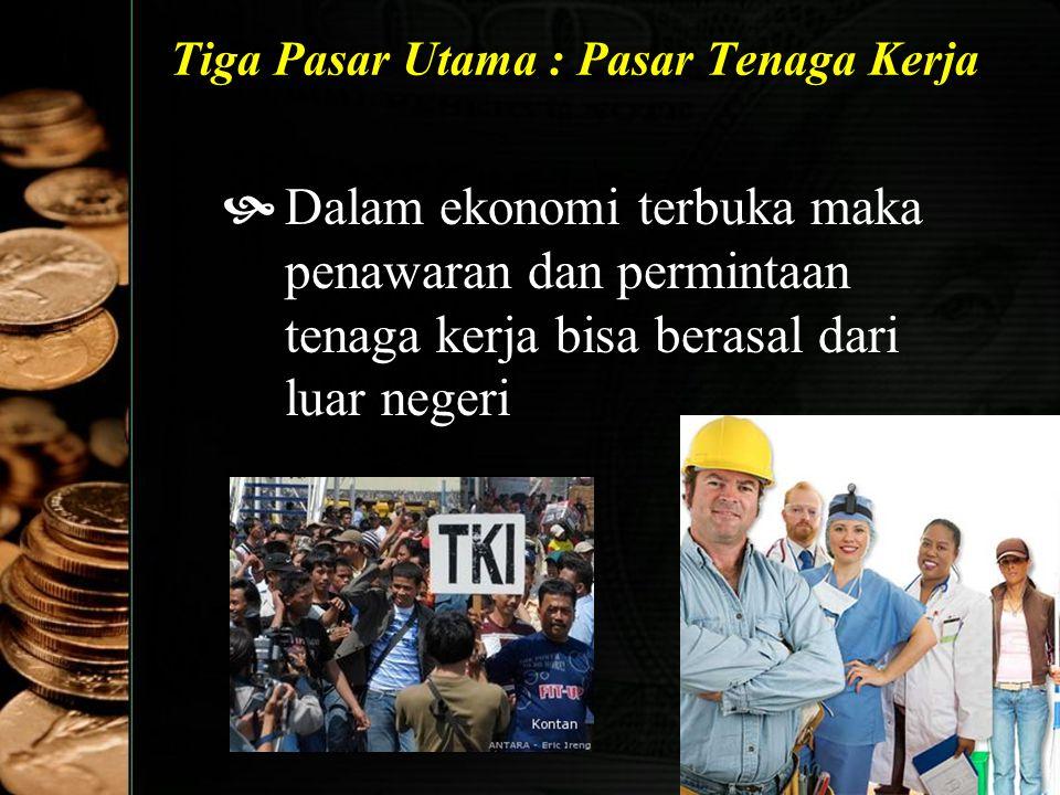 35 Tiga Pasar Utama : Pasar Tenaga Kerja  Dalam ekonomi terbuka maka penawaran dan permintaan tenaga kerja bisa berasal dari luar negeri