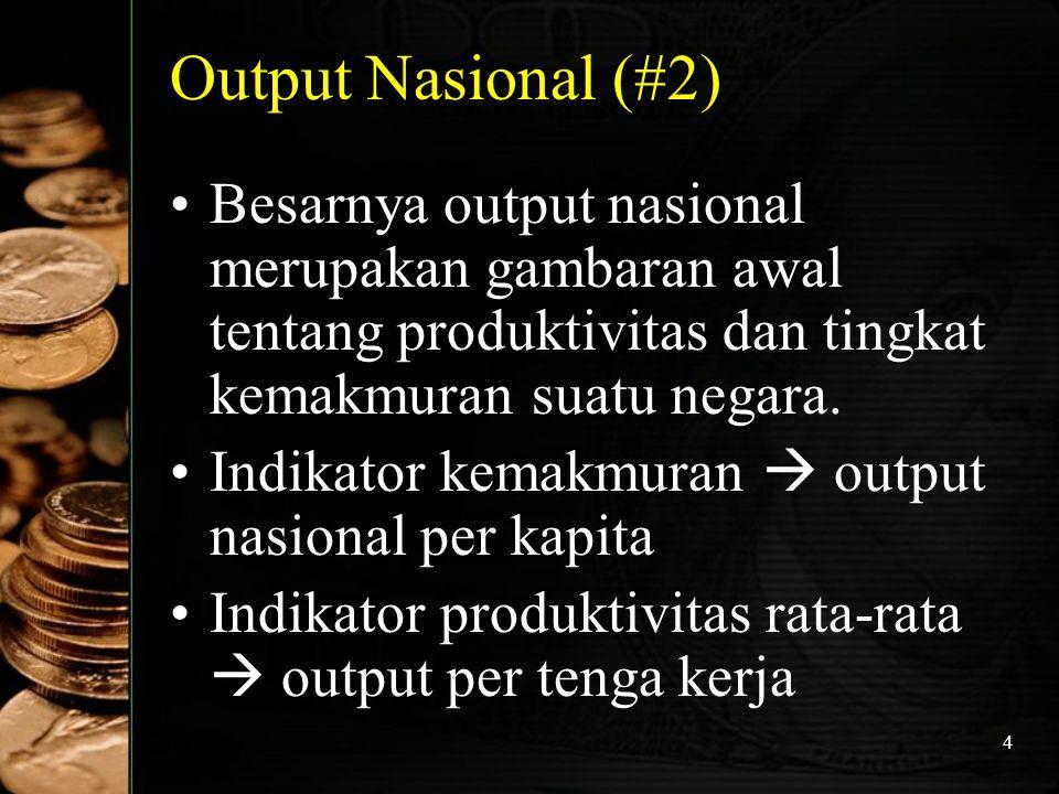 45 Metode Penghitungan Pendapatan Nasional : Metode Output atau Metode Produksi  Nilai Tambah (NT) adalah selisih antara nilai output (NO) dengan nilai input antara (NI) NT = NO – NI