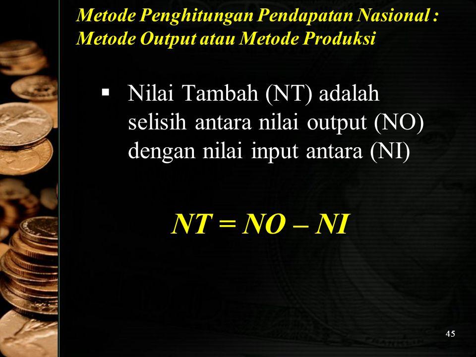 45 Metode Penghitungan Pendapatan Nasional : Metode Output atau Metode Produksi  Nilai Tambah (NT) adalah selisih antara nilai output (NO) dengan nil
