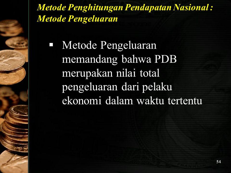 54 Metode Penghitungan Pendapatan Nasional : Metode Pengeluaran  Metode Pengeluaran memandang bahwa PDB merupakan nilai total pengeluaran dari pelaku