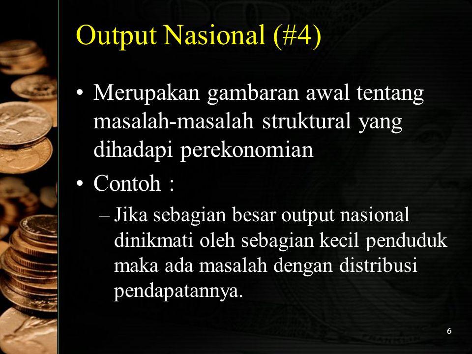 7 Output Nasional (#5) Contoh : –J–Jika sebagian besar output nasional berasal dari sektor pertanian, maka perekonomian harus segera memodernisasi diri.