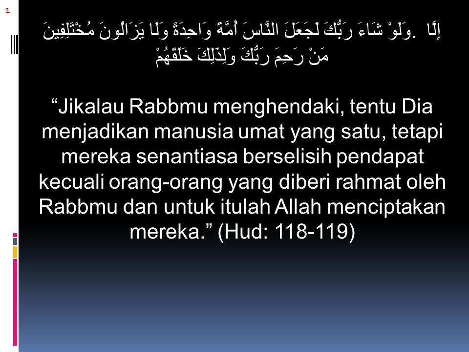 12 Kemudian beliau menyebutkan beberapa ayat, di antaranya: وَاعْتَصِمُوا بِحَبْلِ اللَّهِ جَمِيعًا وَلَا تَفَرَّقُوا Dan berpeganglah kamu semuanya kepada tali (agama) Allah dan janganlah kamu bercerai-berai. (Ali 'Imran: 103) Kemudian beliau berkata: Kaum muslimin tidak boleh bercerai-berai dalam agama mereka.