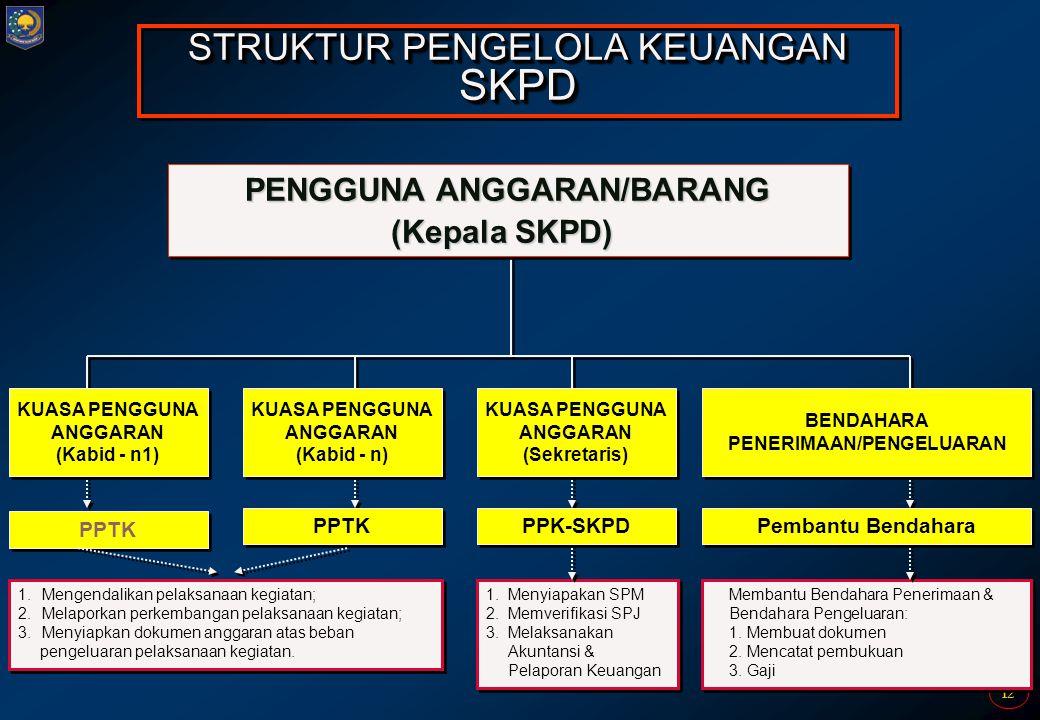 12 PENGGUNA ANGGARAN/BARANG (Kepala SKPD) PENGGUNA ANGGARAN/BARANG (Kepala SKPD) STRUKTUR PENGELOLA KEUANGAN SKPD KUASA PENGGUNA ANGGARAN (Kabid - n1)