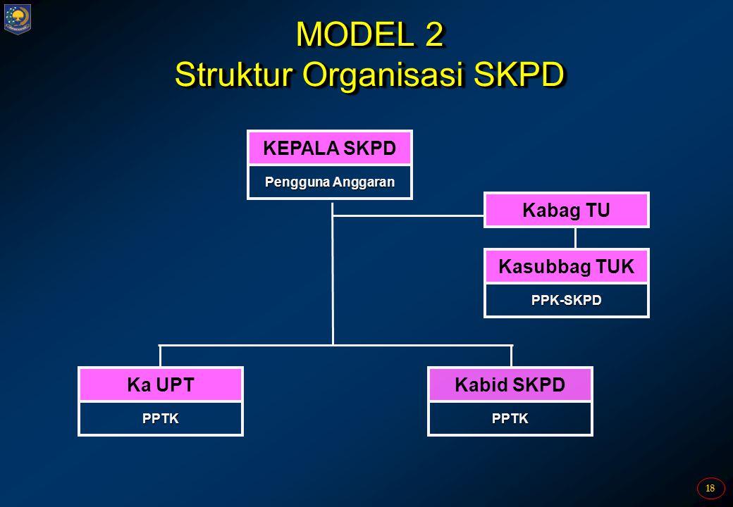 18 MODEL 2 Struktur Organisasi SKPD KEPALA SKPD Pengguna Anggaran Kasubbag TUK PPK-SKPD Kabag TU Ka UPT PPTK Kabid SKPD PPTK