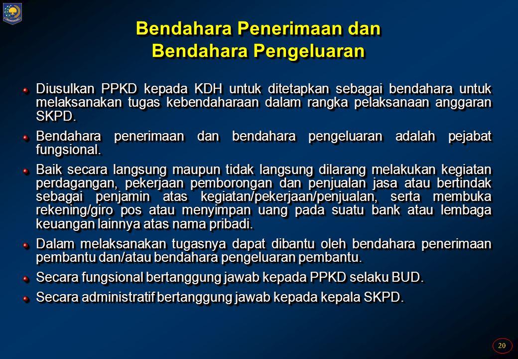 20 Bendahara Penerimaan dan Bendahara Pengeluaran Diusulkan PPKD kepada KDH untuk ditetapkan sebagai bendahara untuk melaksanakan tugas kebendaharaan