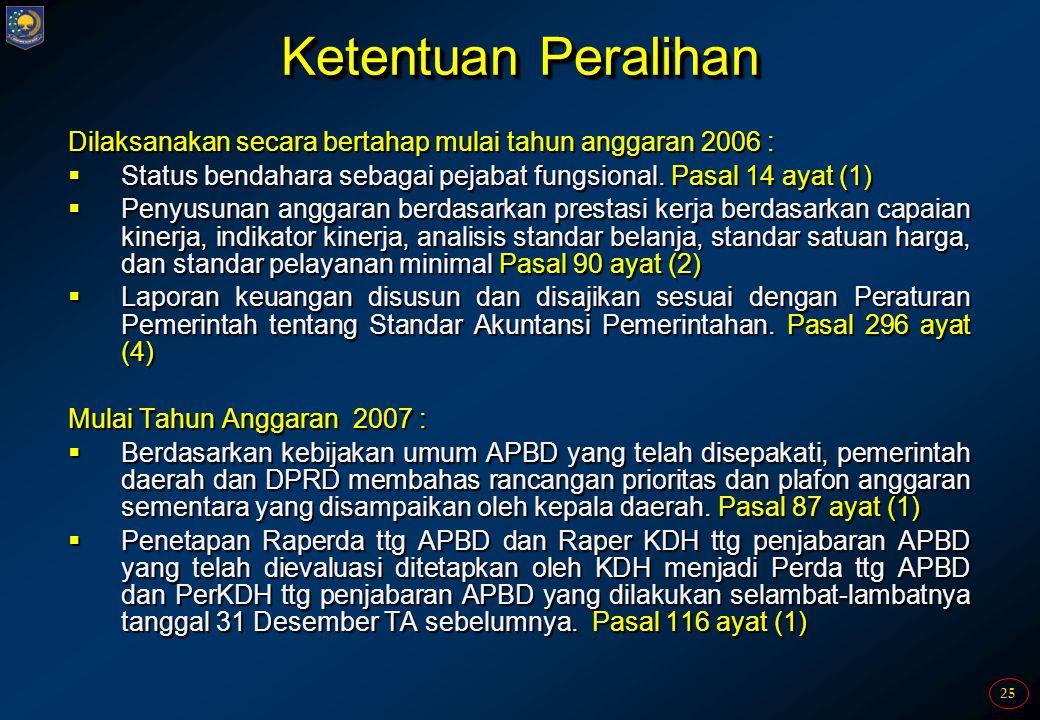 25 Ketentuan Peralihan Dilaksanakan secara bertahap mulai tahun anggaran 2006 :  Status bendahara sebagai pejabat fungsional. Pasal 14 ayat (1)  Pen