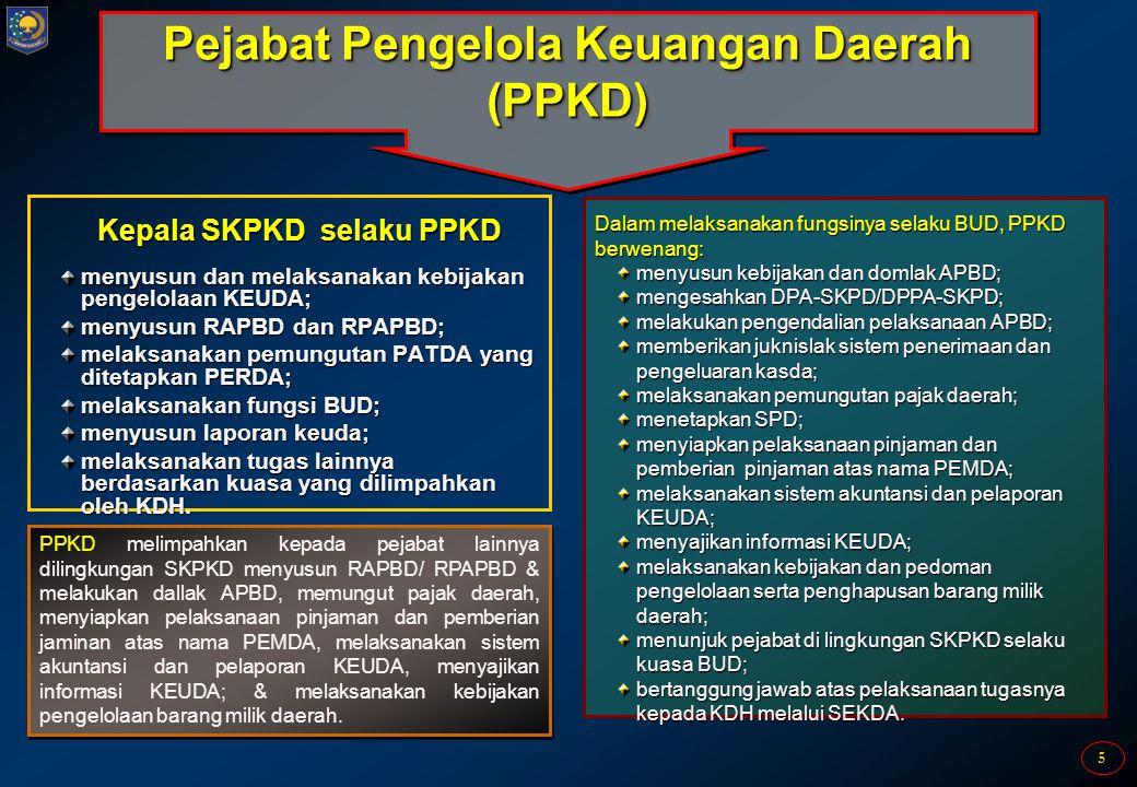 5 Pejabat Pengelola Keuangan Daerah (PPKD) Kepala SKPKD selaku PPKD menyusun dan melaksanakan kebijakan pengelolaan KEUDA; menyusun RAPBD dan RPAPBD;