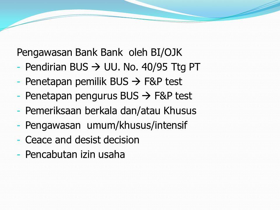 Pengawasan Bank Bank oleh BI/OJK - Pendirian BUS  UU. No. 40/95 Ttg PT - Penetapan pemilik BUS  F&P test - Penetapan pengurus BUS  F&P test - Pemer