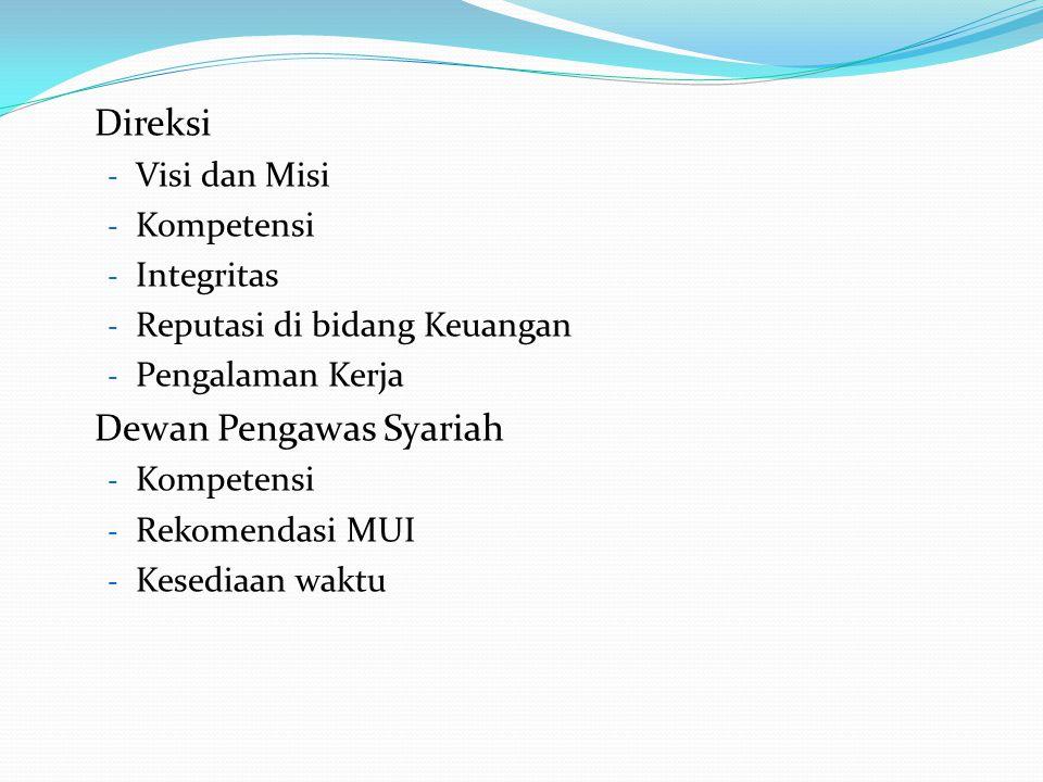 Direksi - Visi dan Misi - Kompetensi - Integritas - Reputasi di bidang Keuangan - Pengalaman Kerja Dewan Pengawas Syariah - Kompetensi - Rekomendasi M