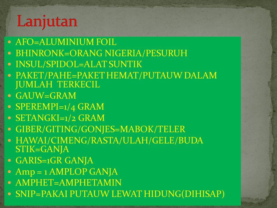 AFO=ALUMINIUM FOIL BHINRONK=ORANG NIGERIA/PESURUH INSUL/SPIDOL=ALAT SUNTIK PAKET/PAHE=PAKET HEMAT/PUTAUW DALAM JUMLAH TERKECIL GAUW=GRAM SPEREMPI=1/4