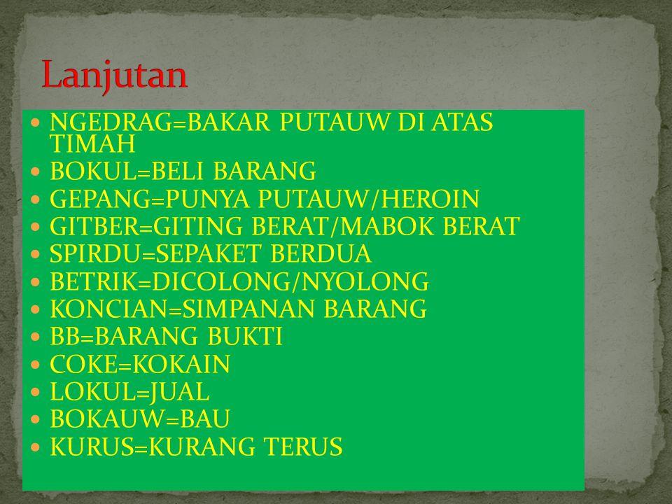 GANTUNG=SETENGAH MABOK BT/SNUK=PUSING/BUNTU BOAT/BOTI=OBAT ABSES=SALAH TUSUK URAT/BENGKAK KW=KUALITAS MUPENG=MUKA PENGEN PYUR=MURNI BT=BAD TRIP (HALUSINASI YG SEREM) TEKEN=MINUM OBAT/PIL/KAPSUL