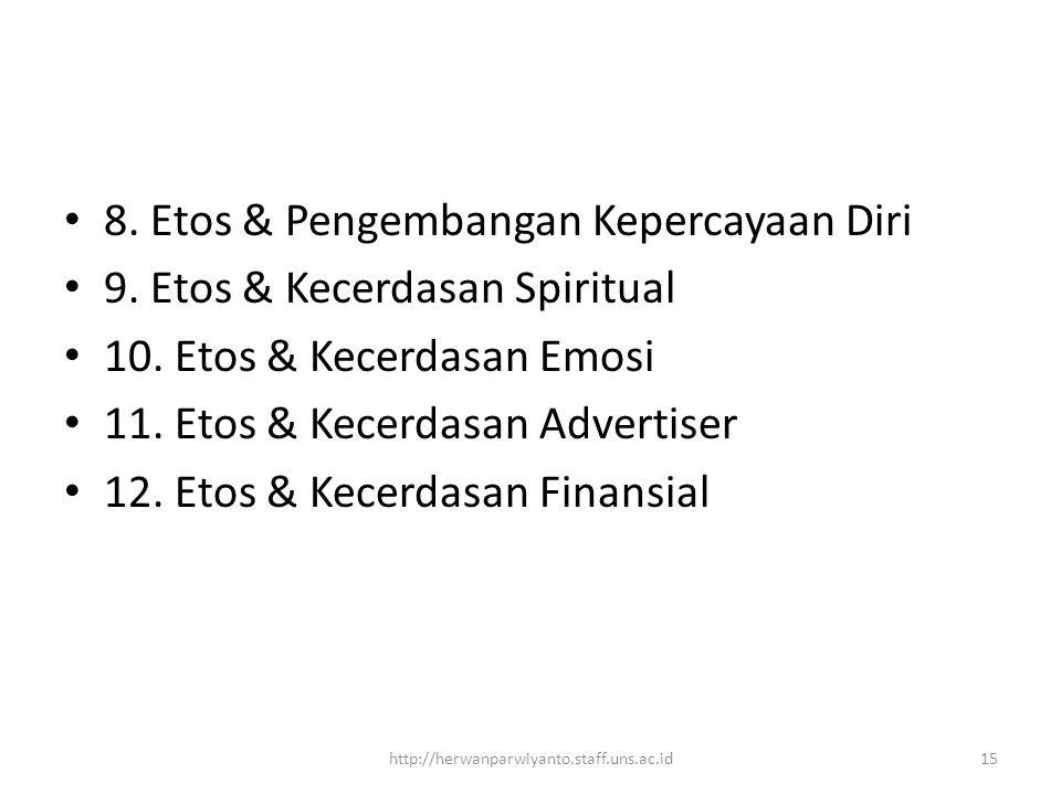 8. Etos & Pengembangan Kepercayaan Diri 9. Etos & Kecerdasan Spiritual 10. Etos & Kecerdasan Emosi 11. Etos & Kecerdasan Advertiser 12. Etos & Kecerda