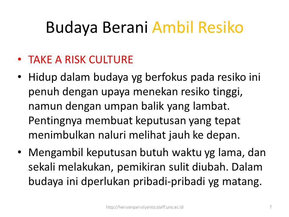Budaya Berani Ambil Resiko TAKE A RISK CULTURE Hidup dalam budaya yg berfokus pada resiko ini penuh dengan upaya menekan resiko tinggi, namun dengan umpan balik yang lambat.