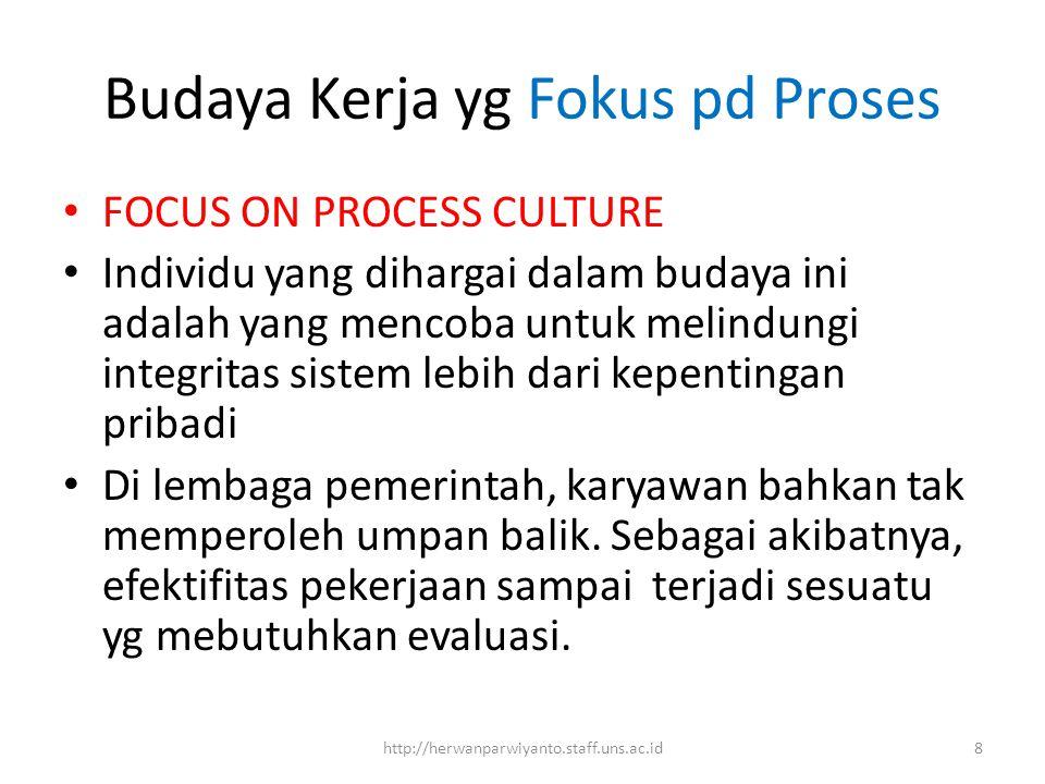 Budaya Kerja yg Fokus pd Proses FOCUS ON PROCESS CULTURE Individu yang dihargai dalam budaya ini adalah yang mencoba untuk melindungi integritas siste