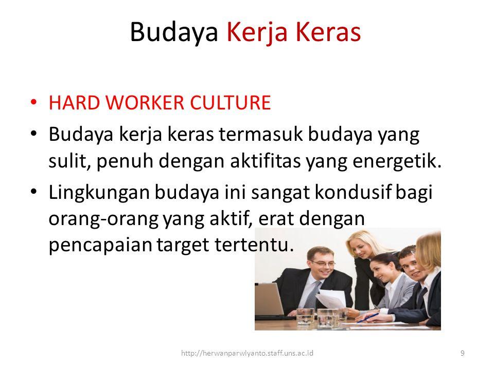 Budaya Kerja Keras HARD WORKER CULTURE Budaya kerja keras termasuk budaya yang sulit, penuh dengan aktifitas yang energetik. Lingkungan budaya ini san