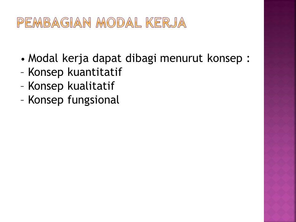 Modal kerja dapat dibagi menurut konsep : – Konsep kuantitatif – Konsep kualitatif – Konsep fungsional