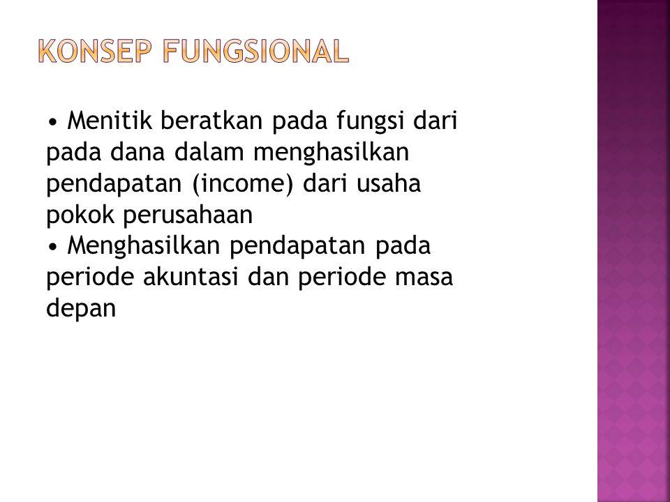 Menitik beratkan pada fungsi dari pada dana dalam menghasilkan pendapatan (income) dari usaha pokok perusahaan Menghasilkan pendapatan pada periode ak