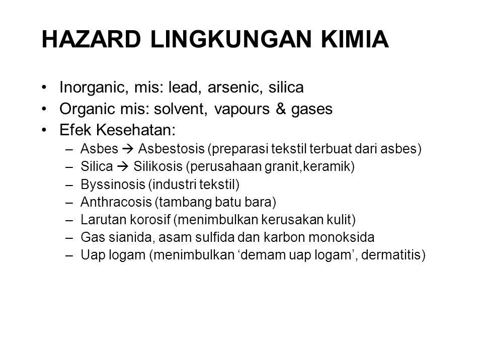 HAZARD LINGKUNGAN KIMIA Inorganic, mis: lead, arsenic, silica Organic mis: solvent, vapours & gases Efek Kesehatan: –Asbes  Asbestosis (preparasi tek